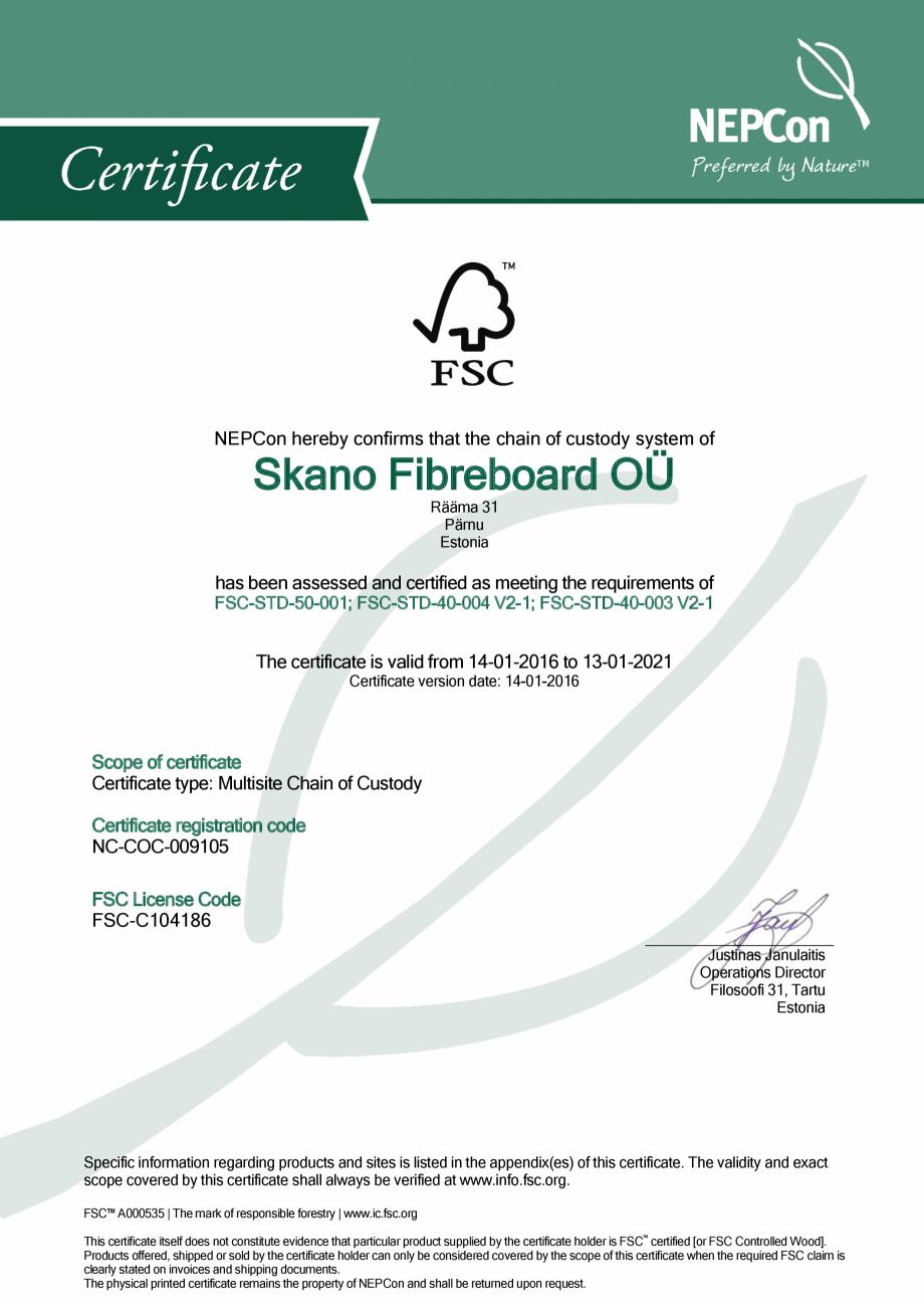 Pagina 1 - Certificare NEPCon Skano Fibreboard OÜ SIMAD Certificare produs Engleza NEPCon...