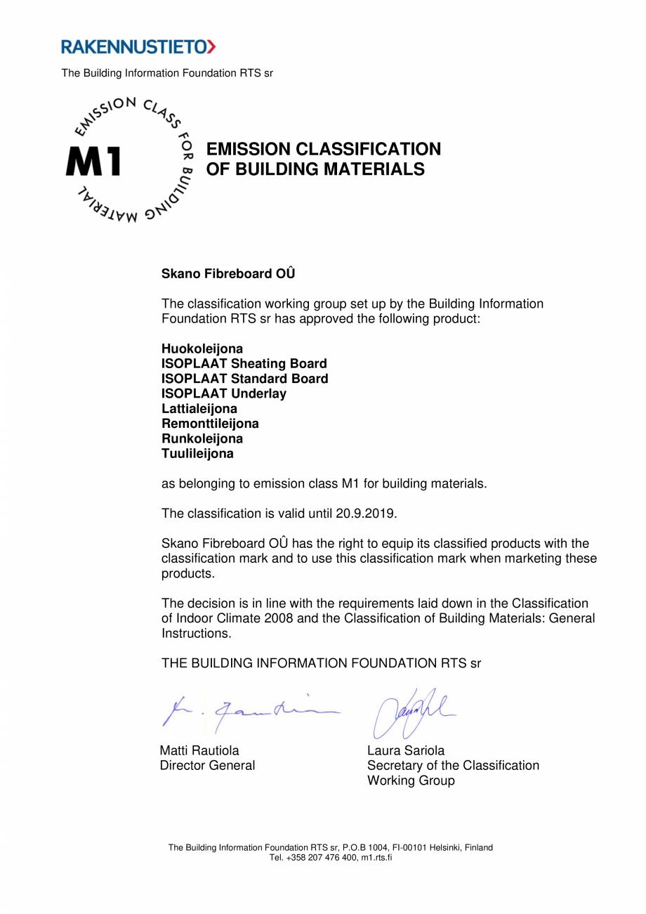 Pagina 1 - Certificare M1 Skano Fibreboard OÜ SIMAD Certificare produs Engleza The Building...