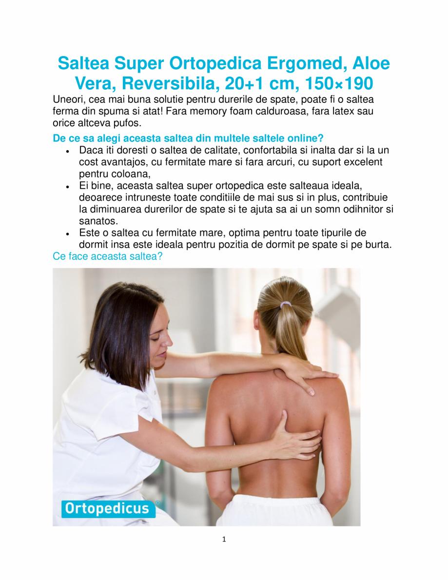 Pagina 1 - Saltea super ortopedica Ergomed, Aloe Vera, reversibila, 20+1 cm, 150×190 ...