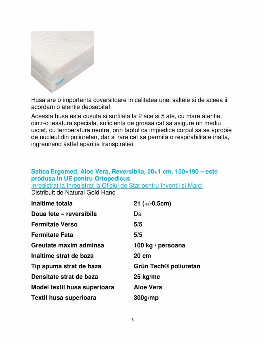 Pagina 3 - Saltea super ortopedica Ergomed, Aloe Vera, reversibila, 20+1 cm, 150×190 ...