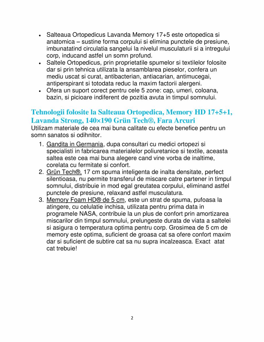 Pagina 2 - Saltea ortopedica, Memory HD 17+5+1, Lavanda Strong, 140×190 Grün Tech®,...