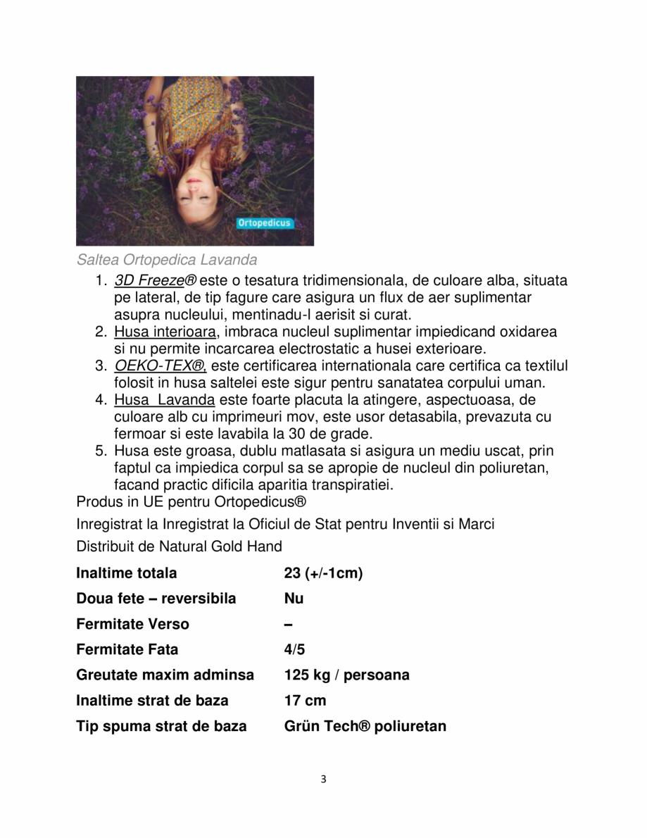Pagina 3 - Saltea ortopedica, Memory HD 17+5+1, Lavanda Strong, 140×190 Grün Tech®,...