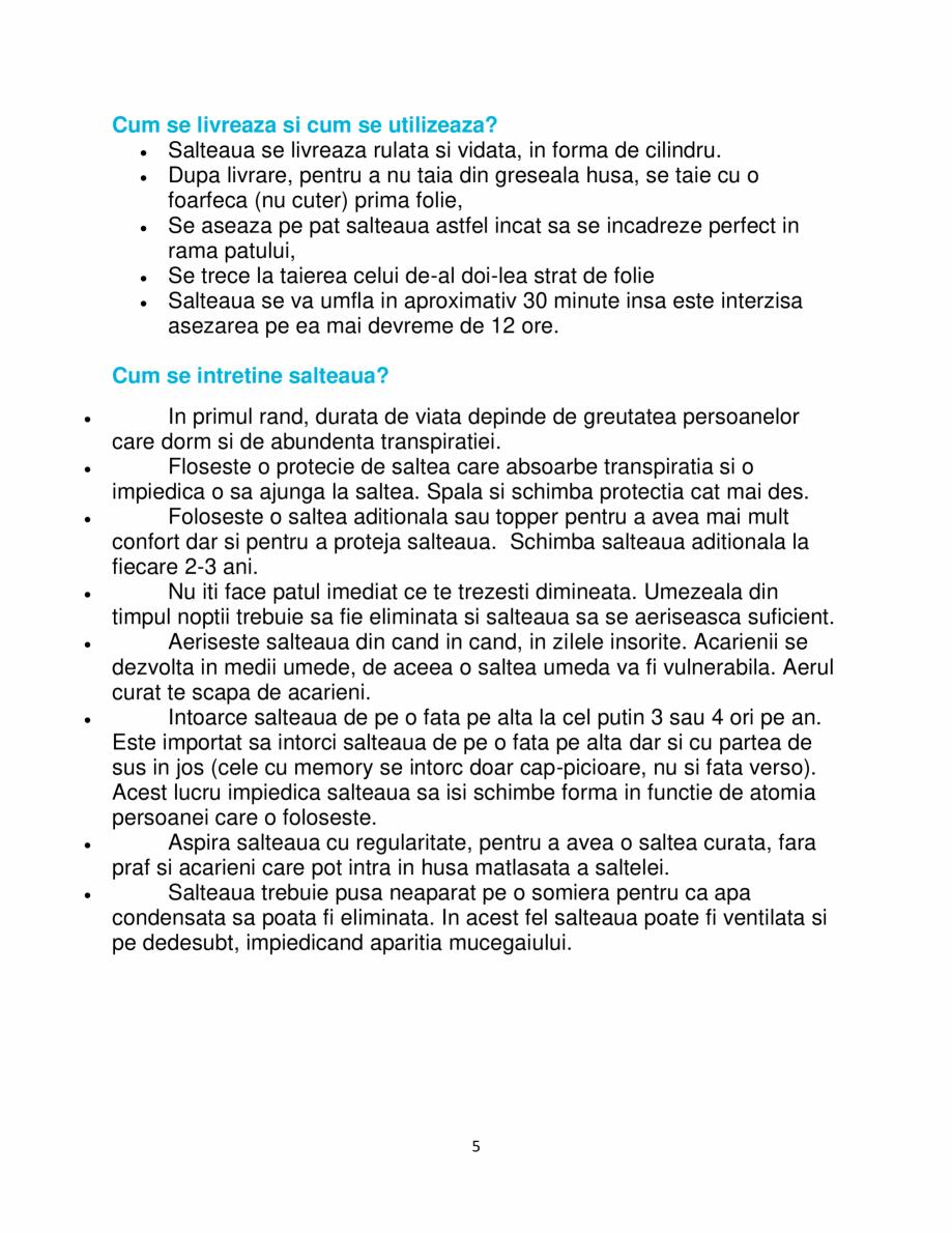 Pagina 5 - Saltea ortopedica, Memory HD 17+5+1, Lavanda Strong, 140×190 Grün Tech®,...