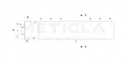 Sectiune profil metalic zincat / Sectiune profil metalic zincat - C