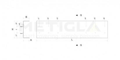 Sectiune profil metalic zincat / Sectiune profil metalic zincat - U