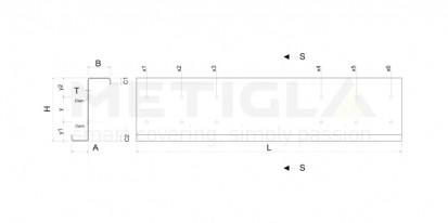 Sectiune profil metalic zincat / Sectiune profil metalic zincat - Z