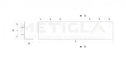 Sectiune profil metalic zincat  / Sectiune profil metalic zincat - L