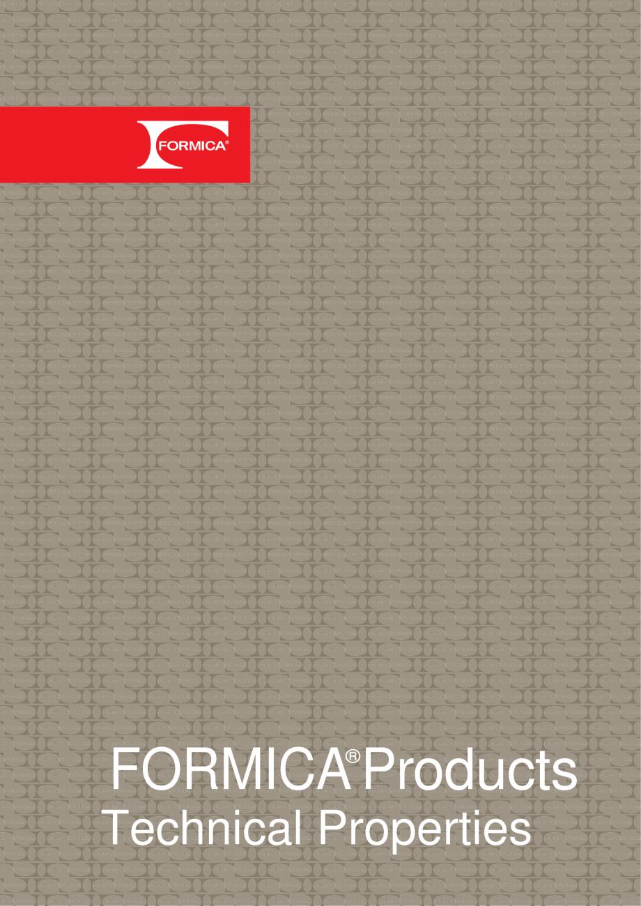 Pagina 1 - Caracteristici tehnice - Placi HPL FORMICA Fisa tehnica Engleza FORMICA Products ® ...