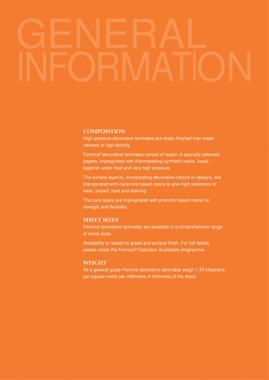 Pagina 3 - Caracteristici tehnice - Placi HPL FORMICA Fisa tehnica Engleza l Purpose, Flame...