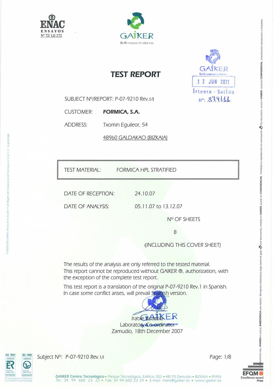 Pagina 1 - Raport GAIKER - Contactul cu alimentele - Placi HPL FORMICA Certificare produs Engleza...