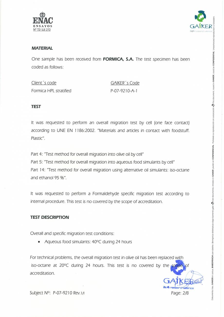 Pagina 2 - Raport GAIKER - Contactul cu alimentele - Placi HPL FORMICA Certificare produs Engleza