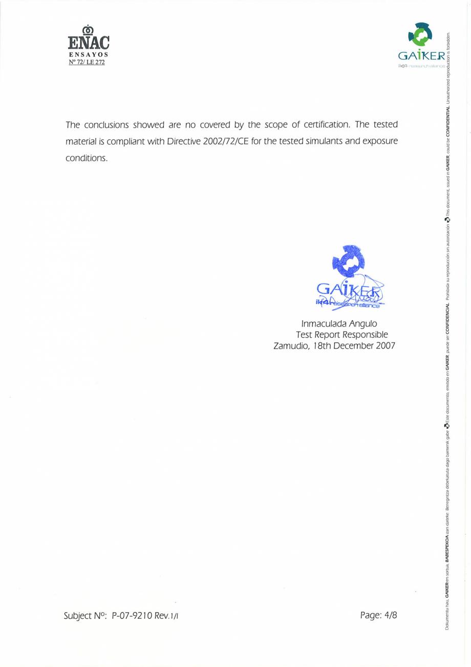 Pagina 4 - Raport GAIKER - Contactul cu alimentele - Placi HPL FORMICA Certificare produs Engleza