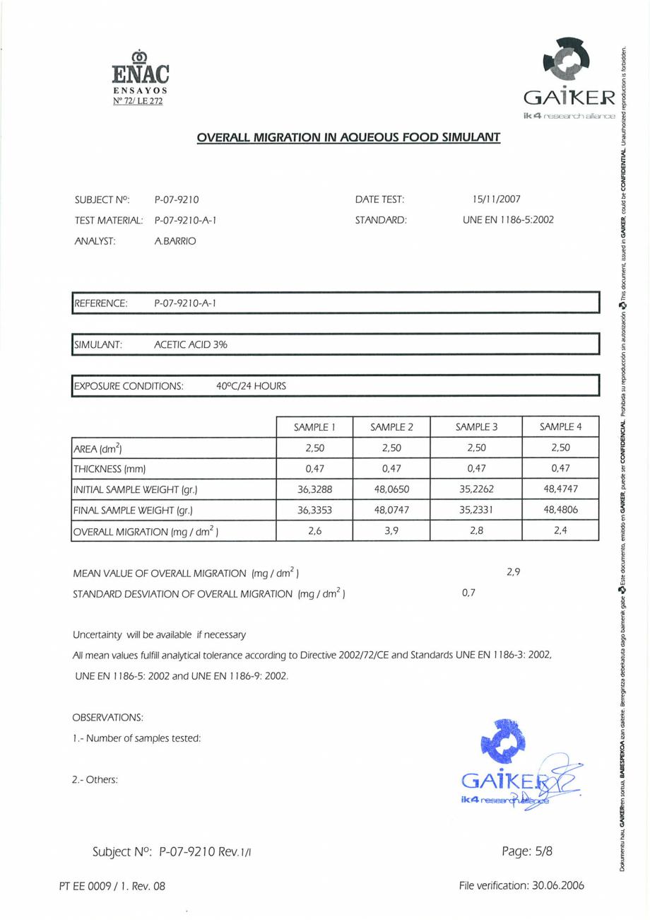 Pagina 5 - Raport GAIKER - Contactul cu alimentele - Placi HPL FORMICA Certificare produs Engleza