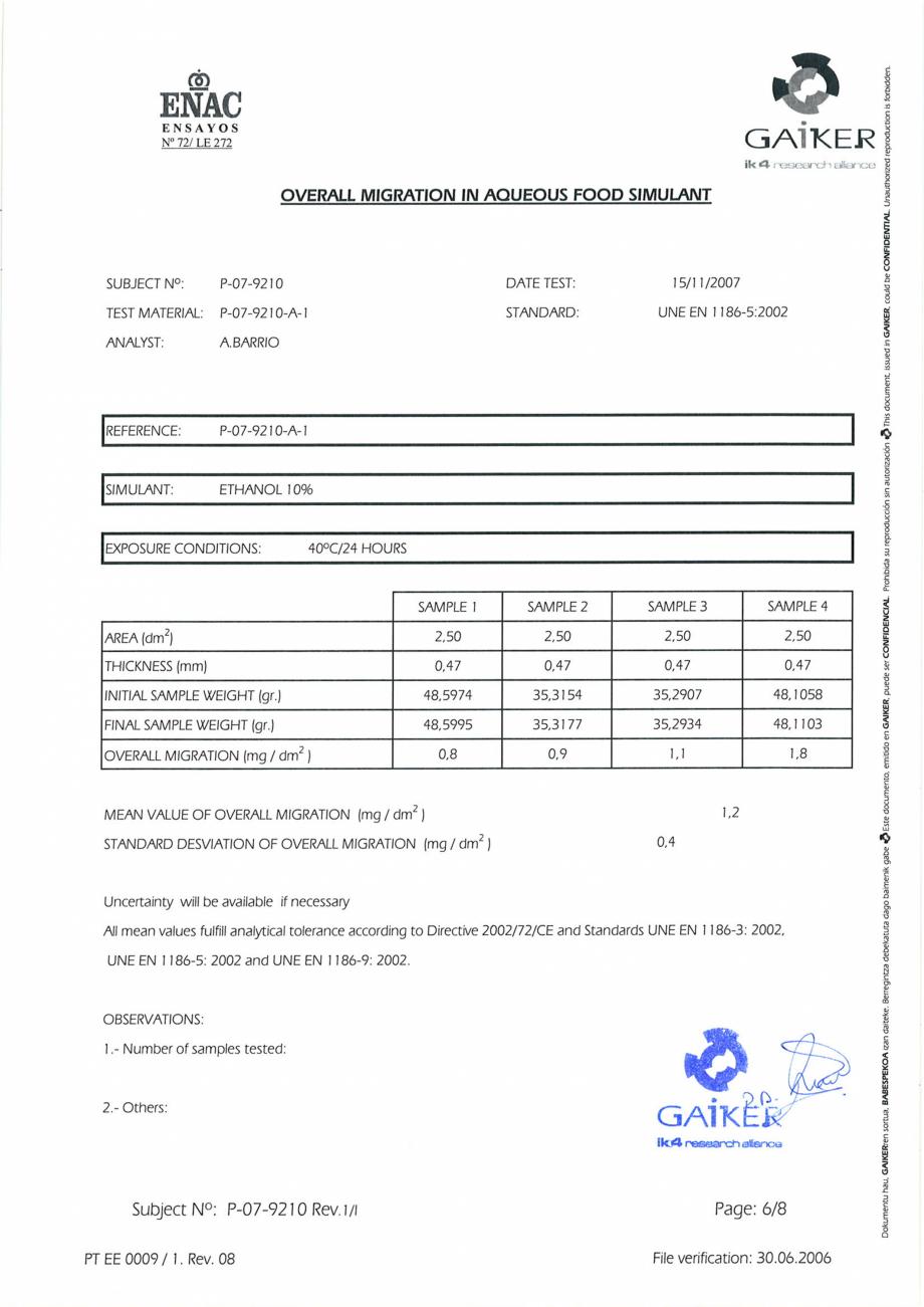 Pagina 6 - Raport GAIKER - Contactul cu alimentele - Placi HPL FORMICA Certificare produs Engleza