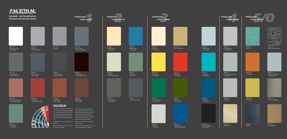 Pagina 2 - Gama de culori pentru tabla plana pentru acoperisuri faltuite MONSENA Falzonal Paletare...