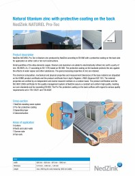 Caracteristici tehnice - tabla pentru acoperisuri NATUREL PRO-TEC