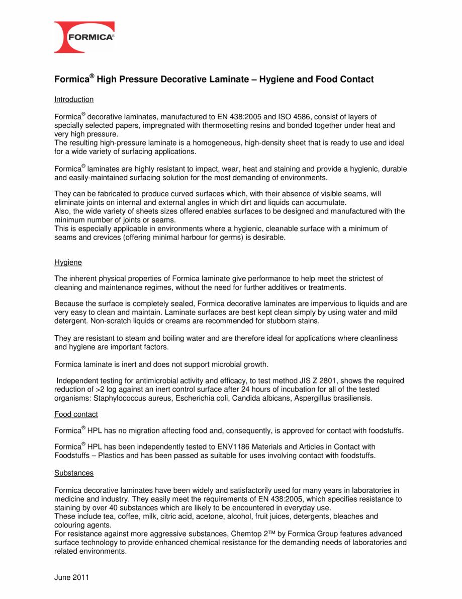 Pagina 1 - Contactul cu alimentele - Placi HPL FORMICA COMPACT Certificare produs Engleza Formica® ...