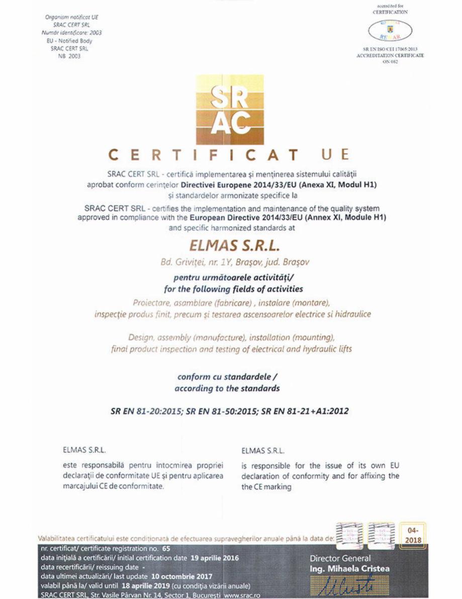 Pagina 1 - Certificat UE -SR EN 81-20:2015, SR EN 81-50:2015, SR En 81-21, A1:2012  ELMAS CIRRO...