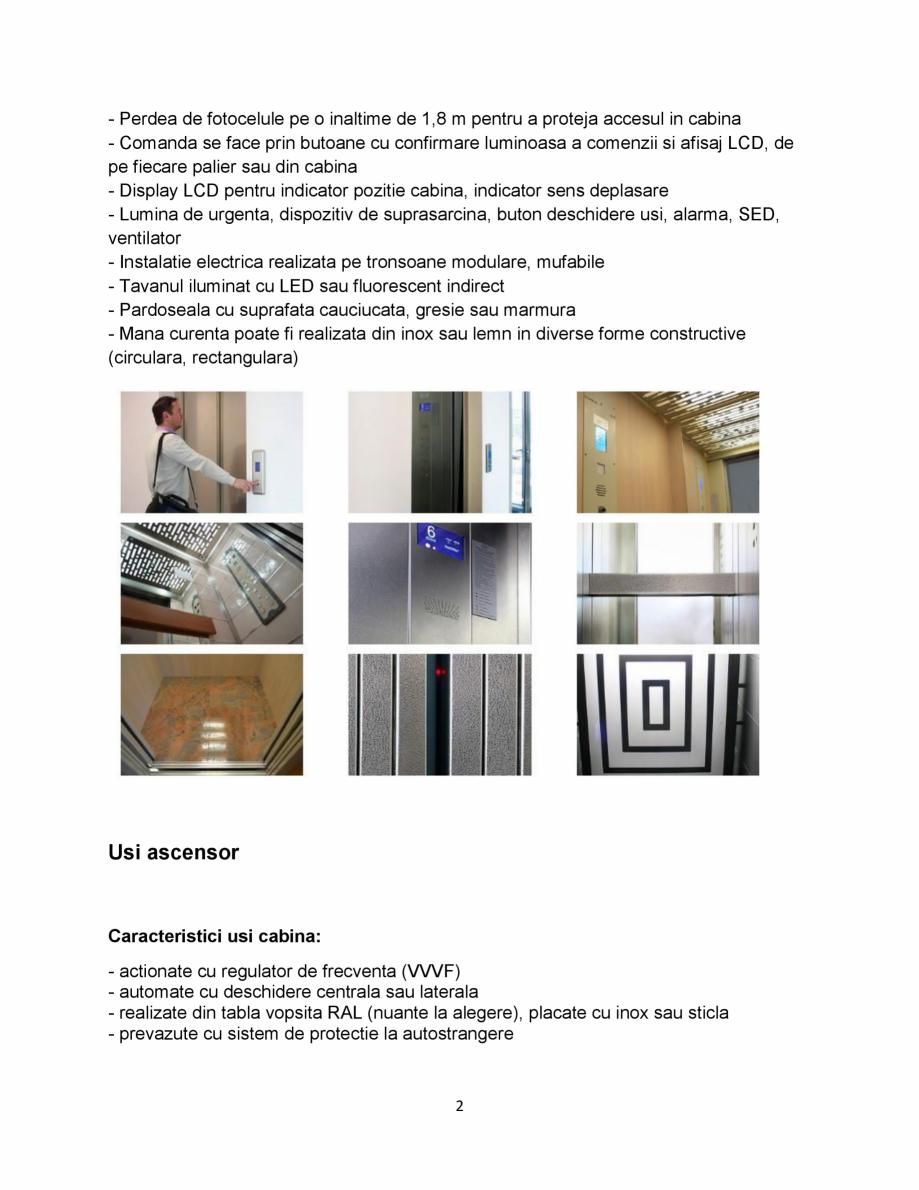 """Pagina 2 - Ascensor electric tip room-less ELMAS CIRRO """"A"""" Fisa tehnica Romana inaltime de..."""