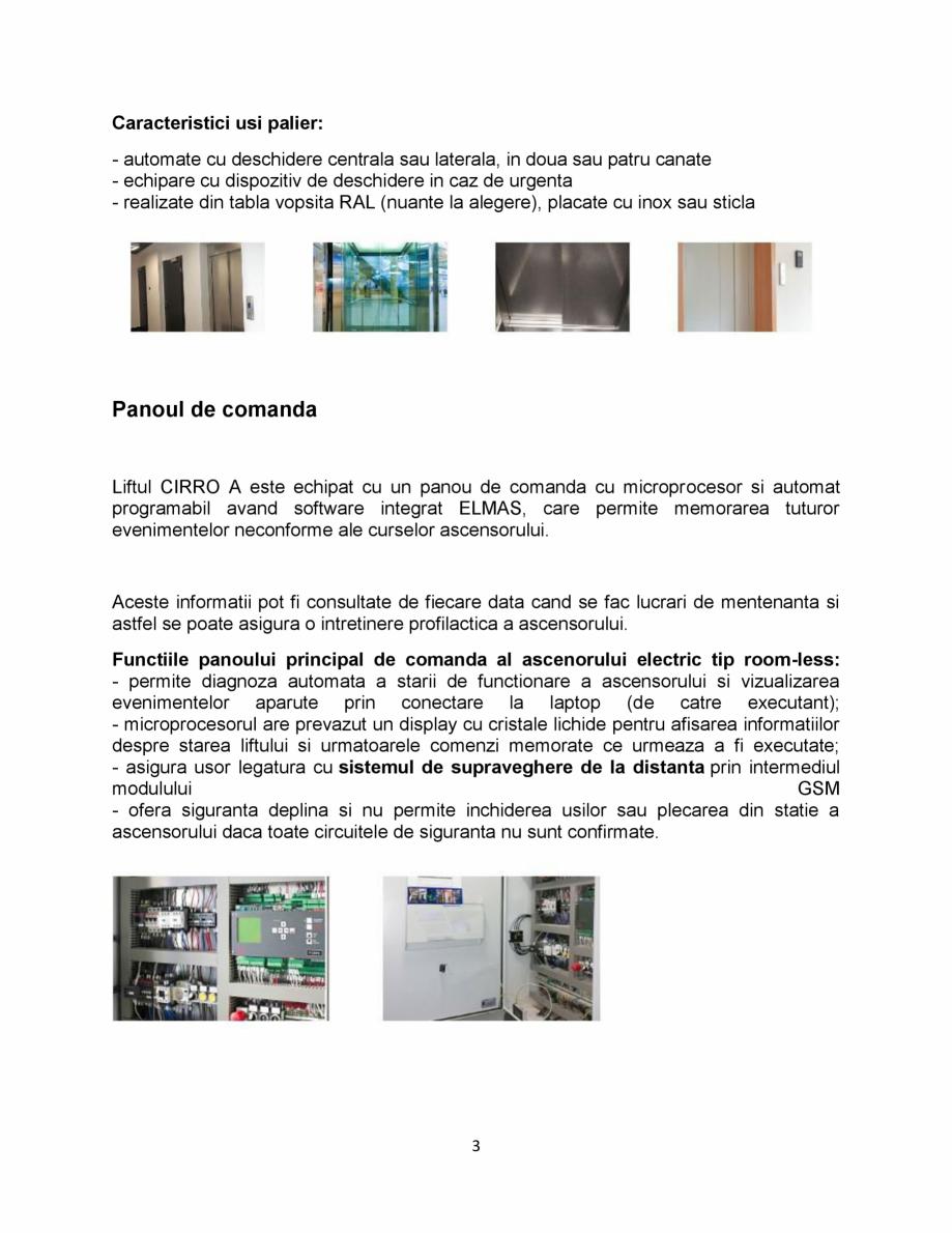 "Pagina 3 - Ascensor electric tip room-less ELMAS CIRRO ""A"" Fisa tehnica Romana e cu..."