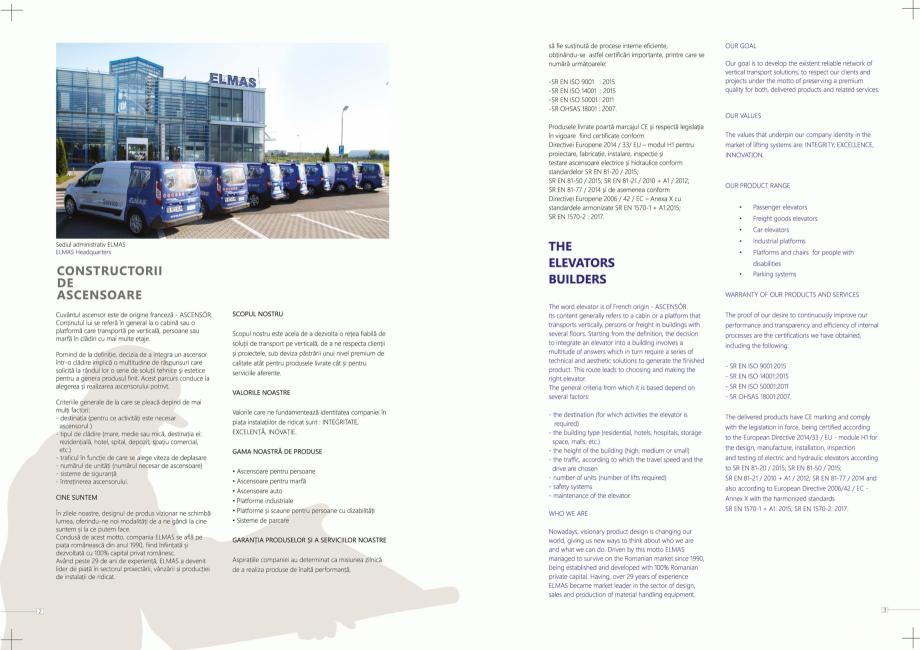 Pagina 2 - Constructorii de ascensoare ELMAS Catalog, brosura Engleza, Romana