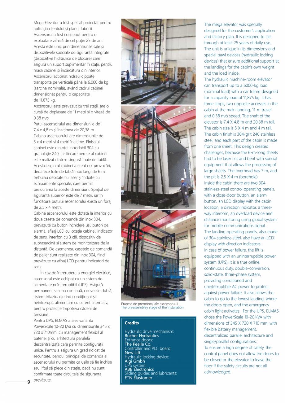Pagina 10 - Constructorii de ascensoare - Locul 1 in lume ELMAS Catalog, brosura Engleza, Romana