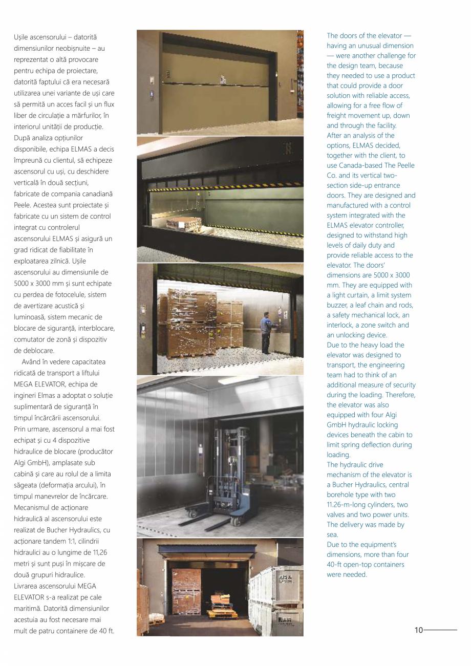 Pagina 11 - Constructorii de ascensoare - Locul 1 in lume ELMAS Catalog, brosura Engleza, Romana