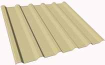 Tabla cutata pentru acoperis TR106R (profil pentru acoperis si planseu intermediar), acest  profil inalt este special proiectat pentru acoperisuri cu distante mari  intre elementele de rezemare si pentru planseele intermediare. Otelul utilizat este galvanizat la cald cu 275 g/m2, in conformitate cu  norma DIN EN 10147. Acest tratament de zinc garanteaza o foarte mare  rezistenta la coroziune. Stratul de zinc este acoperit cu o vopsea de  protectie intr-o larga paleta de culori.
