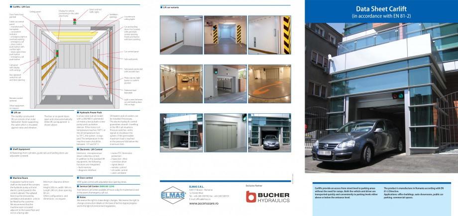 Pagina 1 - Ascensor pentru autoturisme ELMAS pentru transport verticala Fisa tehnica Engleza Lift...