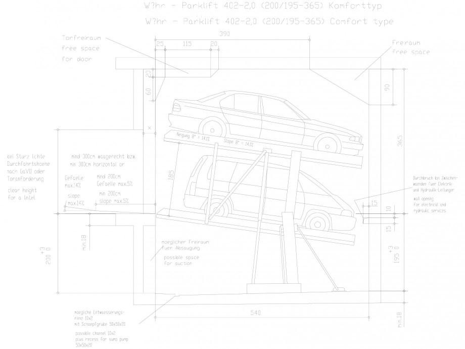 Pagina 1 - CAD-DXF Sistem mecanic de parcare auto 2.0-200/195 Comfort WÖHR Detaliu de produs...