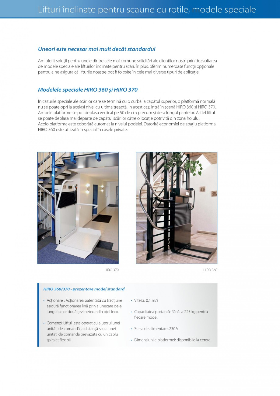 Pagina 16 - Lifturi (servoscara) si platforme pentru persoane cu dizabilitati HIRO LIFT HIRO 160,...