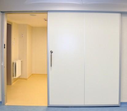 Usa ermetica pentru salon medical, vazuta de aproape TORMED  ER  Usi de spital ermetice automate