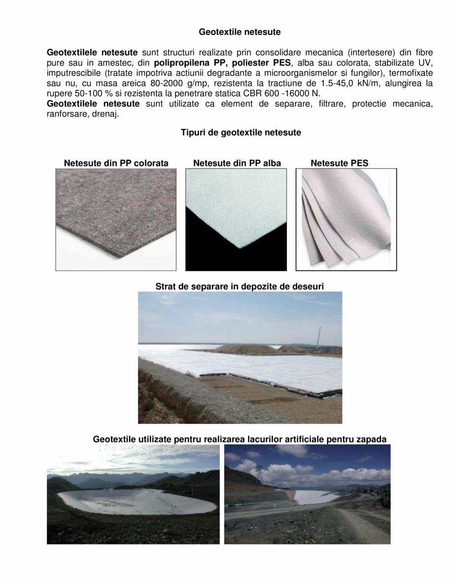 Pagina 1 - Prezentare a geotextilelor netesute GEOCOM TRADING&CONSULTING Netesute PP, Netesute...