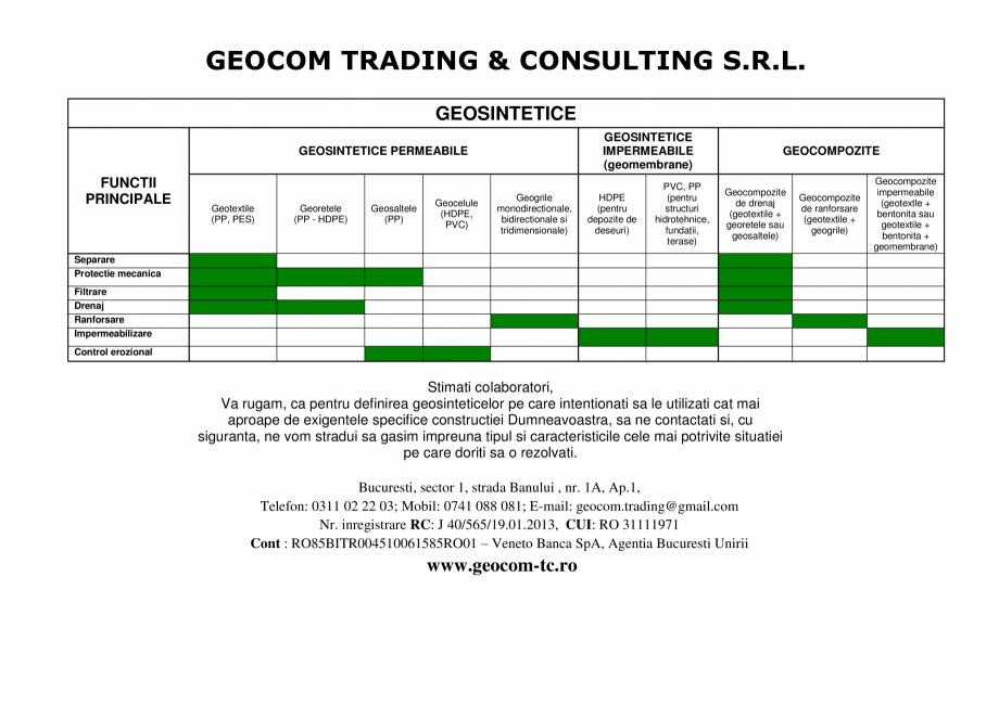 Fisa tehnica Functii geosintetice TRISTRATIFICATE, TRISTRATIFICATE RANFORSATE, BIODEGRADABILE, TRISTRATIFICATE CU GEOTEXTIL BIODEGRADABIL PREINSAMANTAT GEOCOM TRADING&CONSULTING Geosintetice - Geosaltele pentru controlul eroziunii terasamentelor Geocom Trading&Consulting SRL GEOCOM TRADING & CONSULTING S.R.L. GEOSINTETICE GEOSINTETICE IMPERMEABILE (geomembrane) ... - Pagina 1