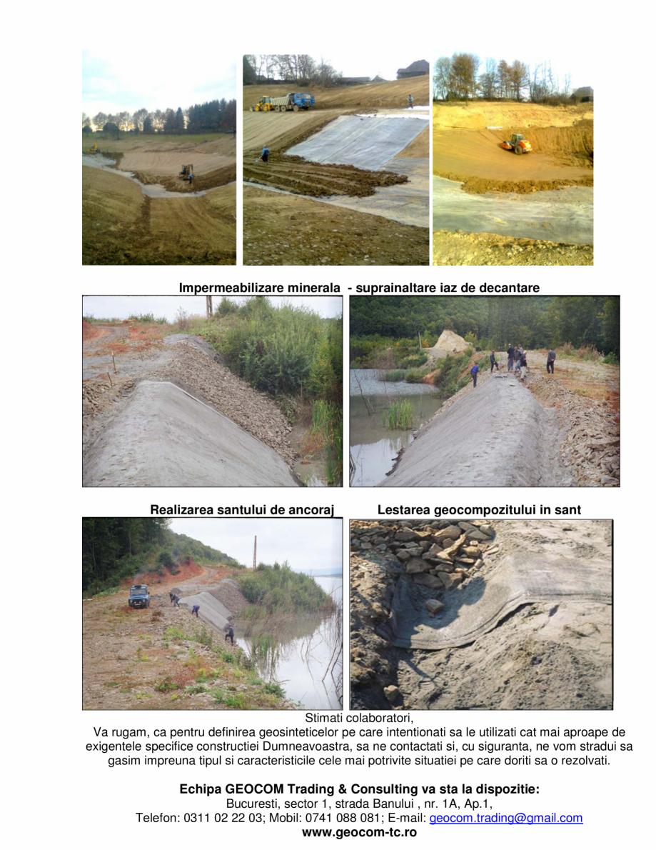 Pagina 3 - Geocompozite de impermeabilizare  GEOCOM TRADING&CONSULTING Lucrari, proiecte Romana