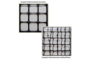 Geosintetice - Geogrile tridimensionale Geogrilele tridimensionale de la Geocom sunt produse printr-un  proces unic de extrudare tridimensionala (3D) a polimerului din polipropilena.