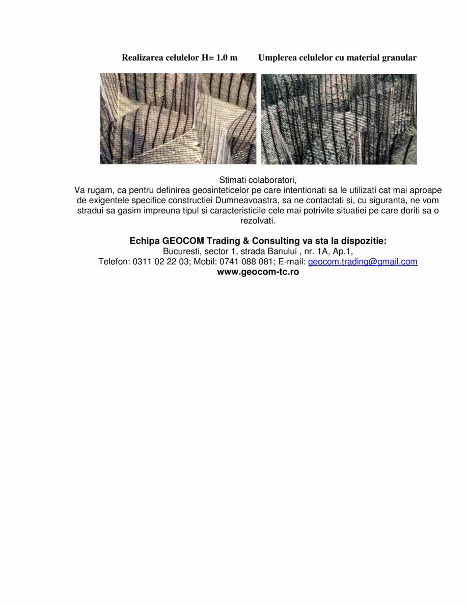Pagina 3 - Geocompozite de ranforsare  GEOCOM TRADING&CONSULTING GEOCOMPOZITE RANFORSARE Lucrari...