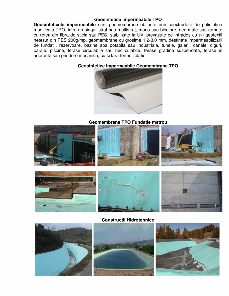 Pagina 1 - Geosintetice impermeabile TPO  GEOCOM TRADING&CONSULTING Geomembrane TPO Lucrari,...