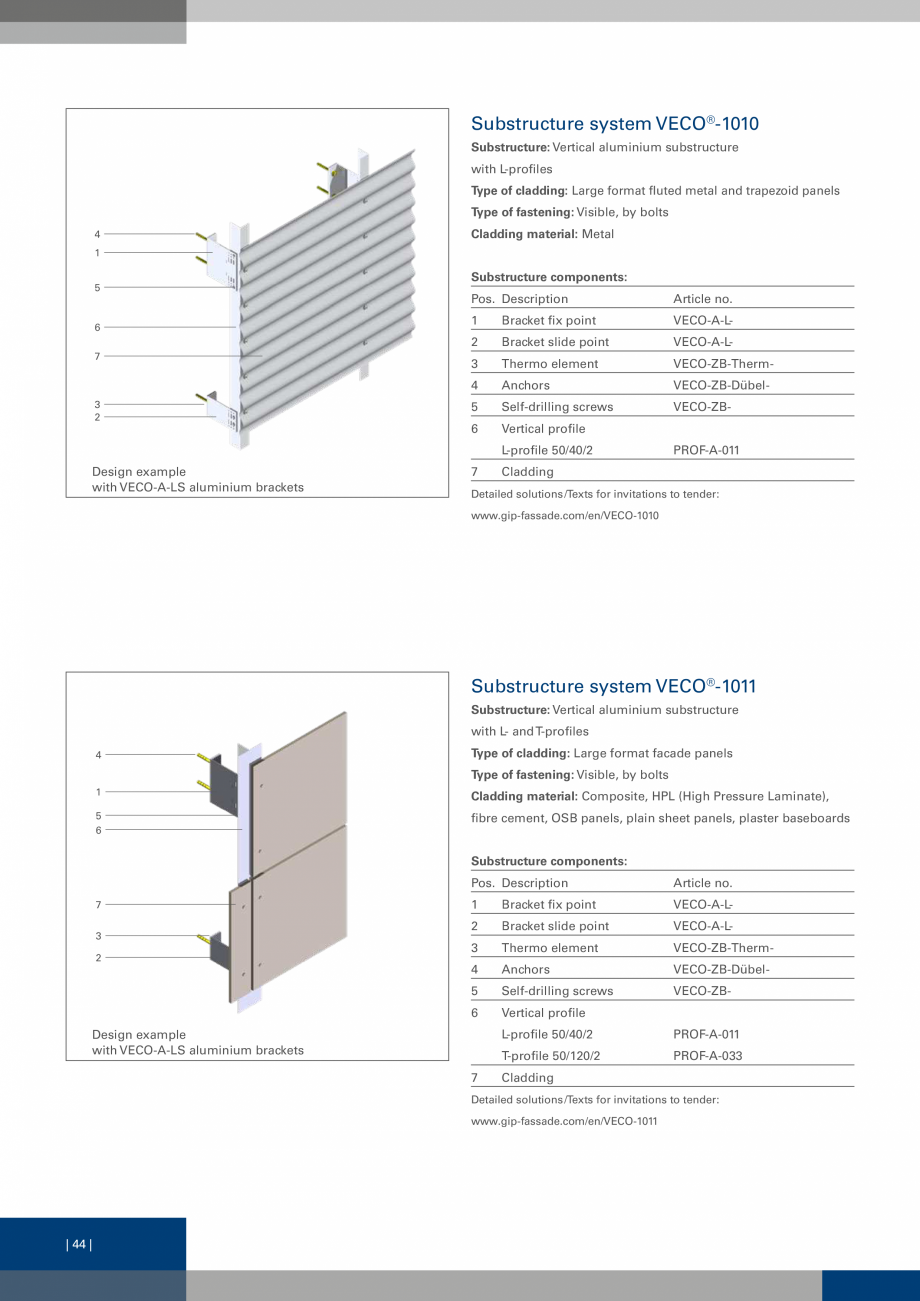 Pagina 44 - Sisteme de fixare a placarii  VECO Catalog, brosura Engleza e used: Visible fastening;...
