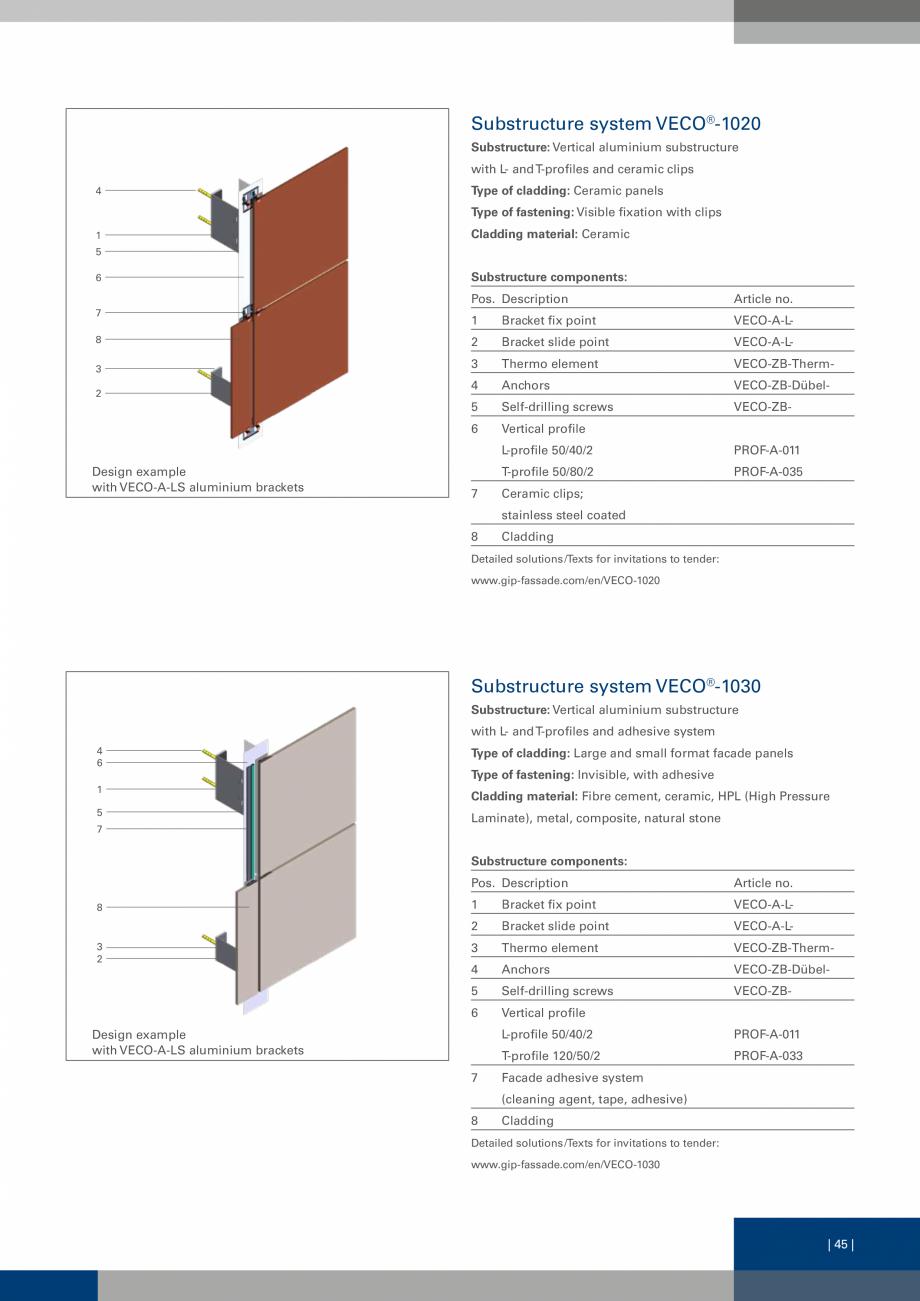 Pagina 45 - Sisteme de fixare a placarii  VECO Catalog, brosura Engleza ollowing fastening options...