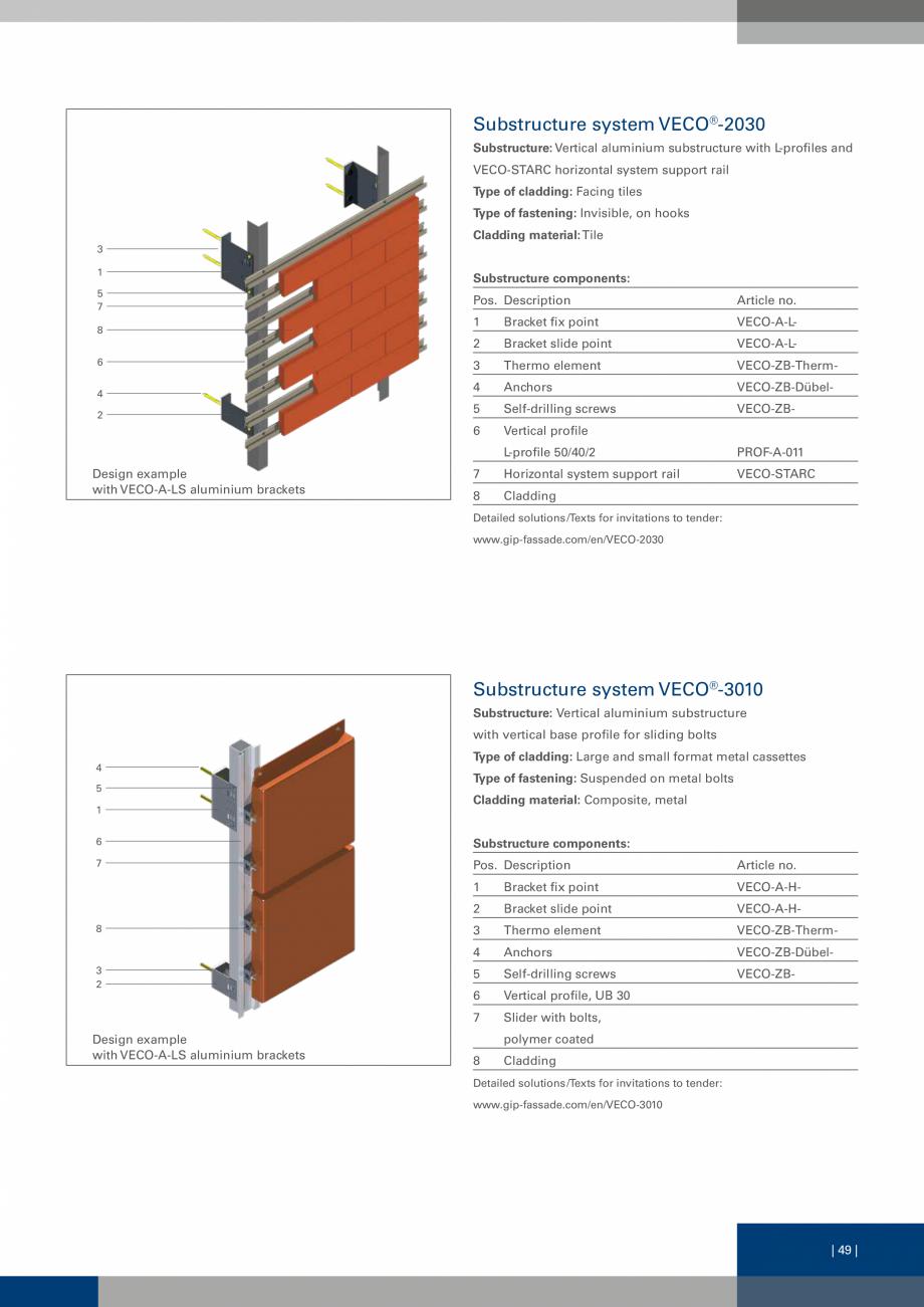 Pagina 49 - Sisteme de fixare a placarii  VECO Catalog, brosura Engleza ing options can be used:...