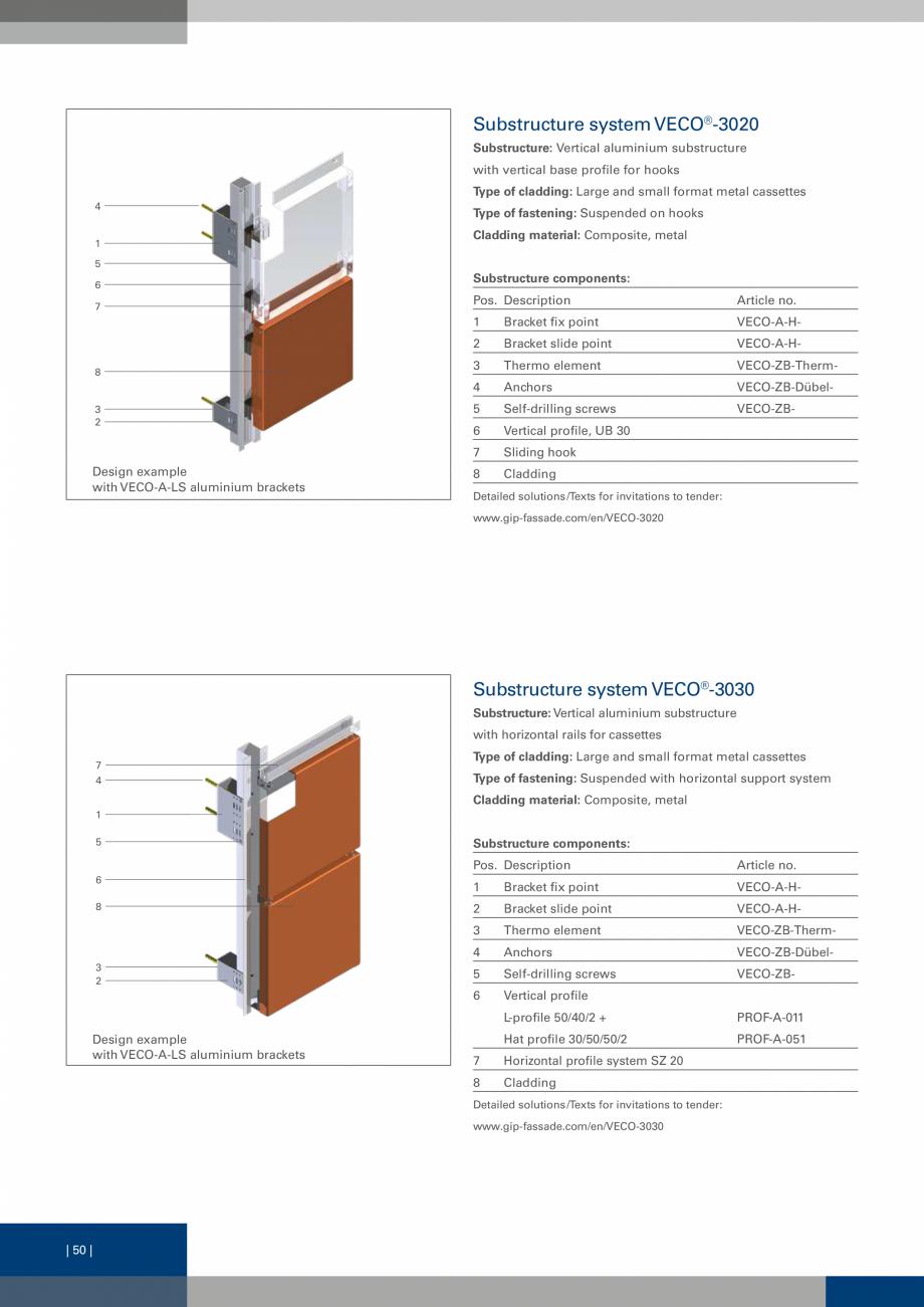 Pagina 50 - Sisteme de fixare a placarii  VECO Catalog, brosura Engleza nvisible fastening; with...