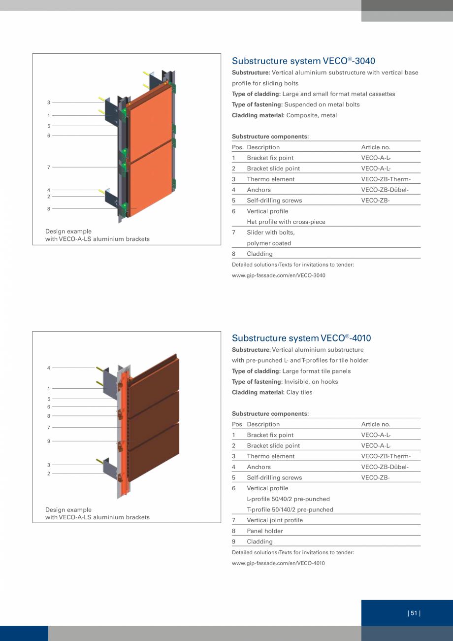 Pagina 51 - Sisteme de fixare a placarii  VECO Catalog, brosura Engleza tructure with L- and...
