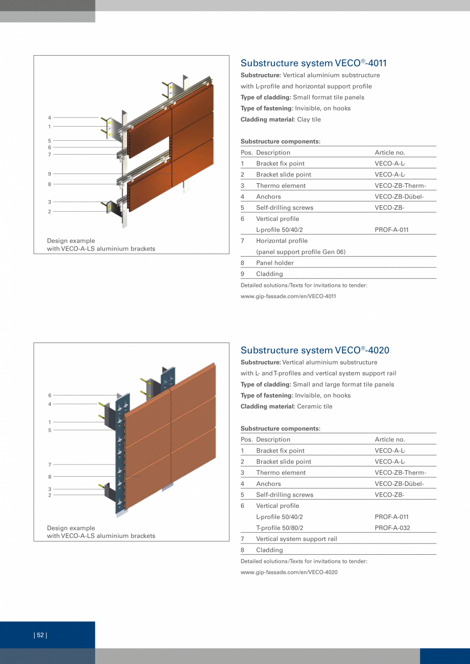 Pagina 52 - Sisteme de fixare a placarii  VECO Catalog, brosura Engleza  hat profile and sliding...