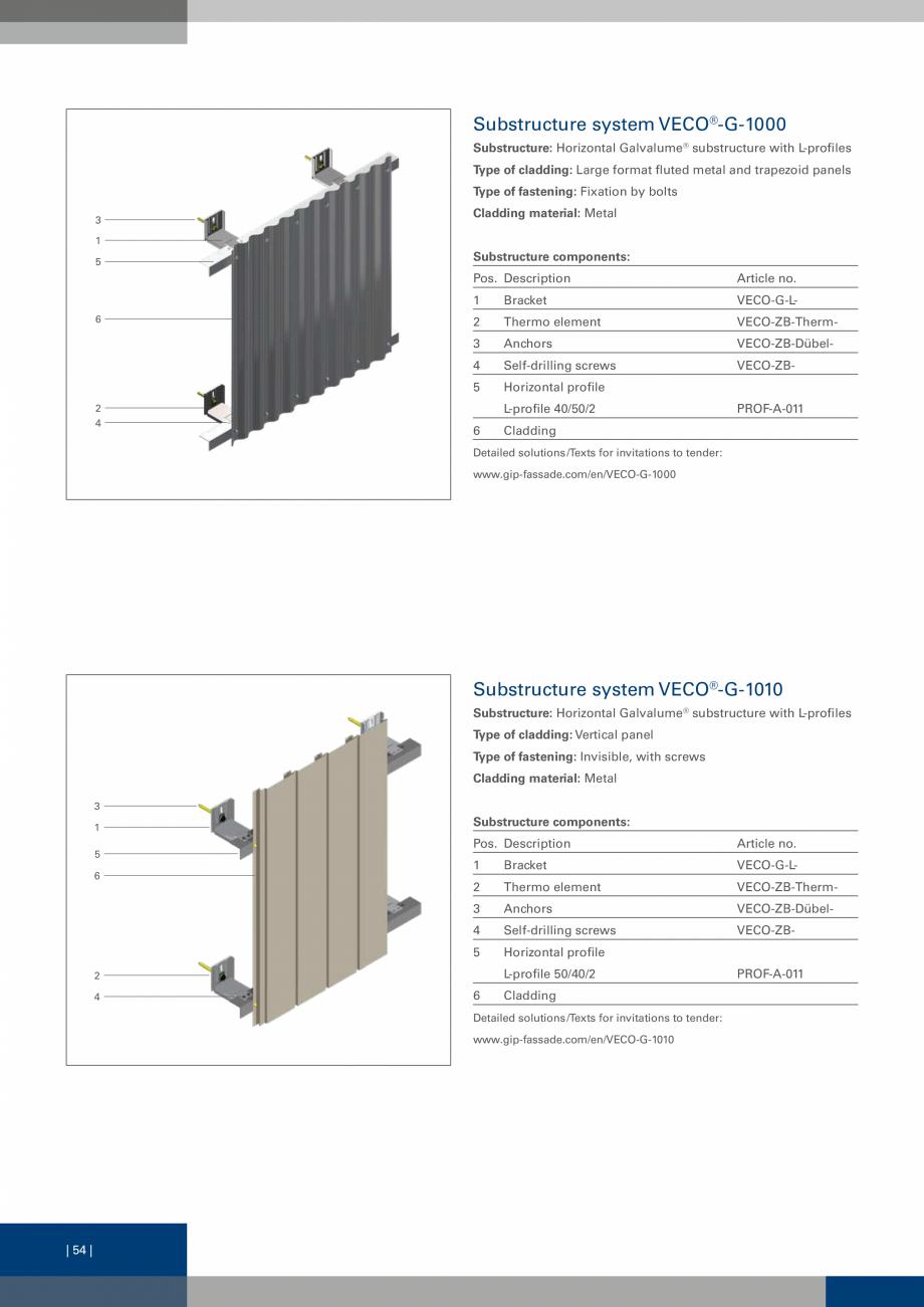 Pagina 54 - Sisteme de fixare a placarii  VECO Catalog, brosura Engleza rtical profile L-profile...