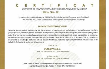 Certificare elemente poduri Macon MACON