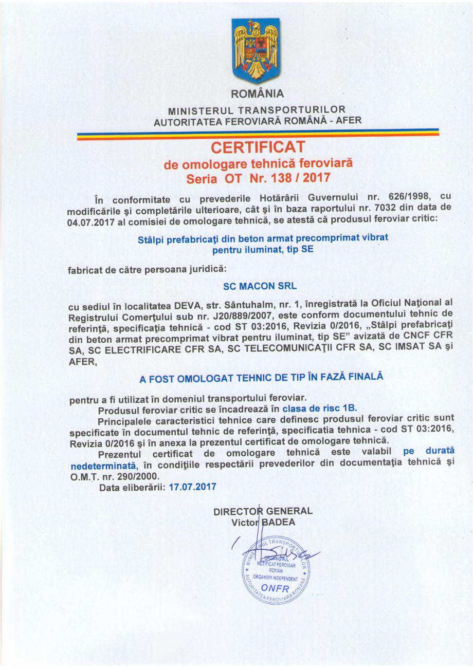 Pagina 1 - Certificat de omologare tehnica feroviara in faza finala emis de catre Autoritatea...