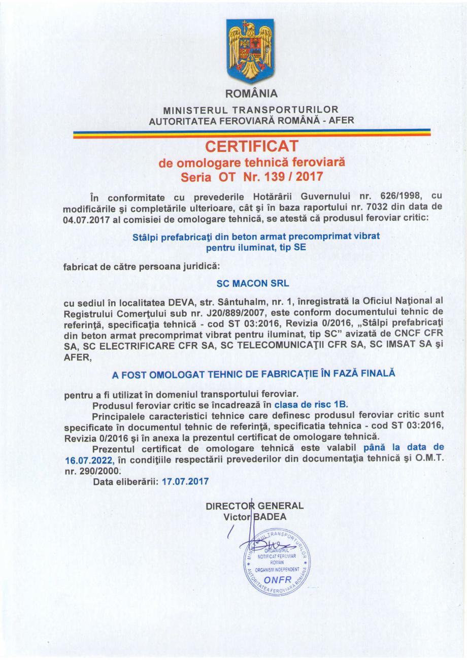 Pagina 3 - Certificat de omologare tehnica feroviara in faza finala emis de catre Autoritatea...