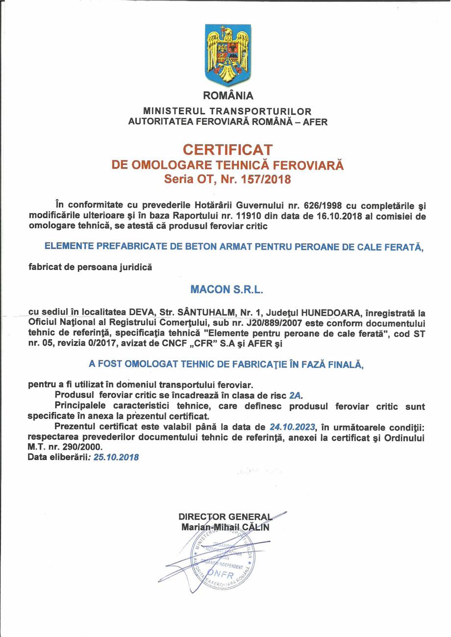 Pagina 1 - Certificat de omologare tehnica feroviara de fabricatie in faza finala, eliberat de catre...