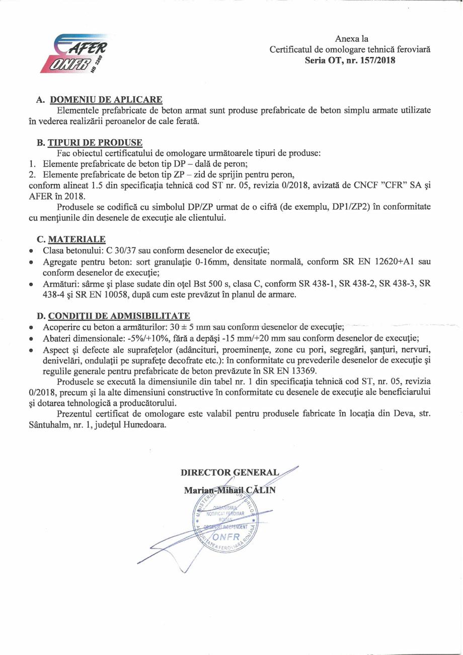 Pagina 2 - Certificat de omologare tehnica feroviara de fabricatie in faza finala, eliberat de catre...